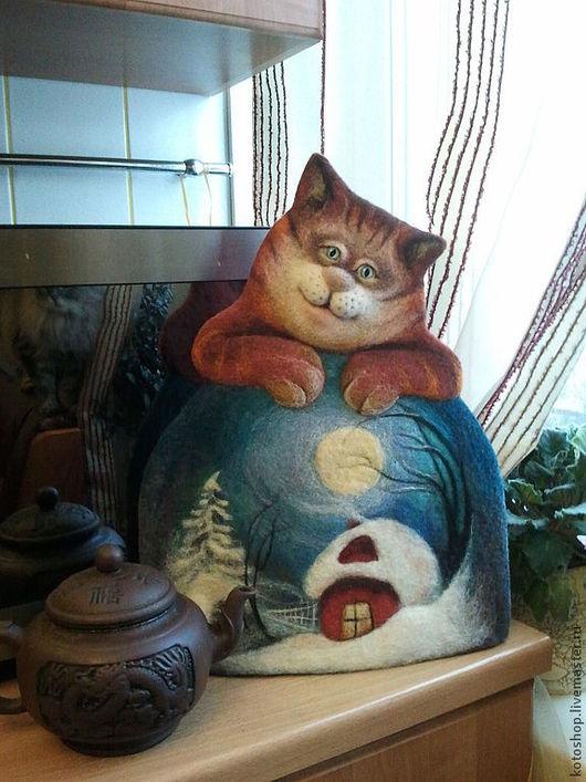 """Кухня ручной работы. Ярмарка Мастеров - ручная работа. Купить Котогрелка войлочная """"Чай с котом"""". Handmade. Грелка на чайник"""
