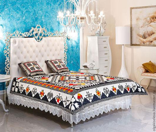 Текстиль, ковры ручной работы. Ярмарка Мастеров - ручная работа. Купить Комплект для спальни. Handmade. Чёрно-белый, хлопок 100%