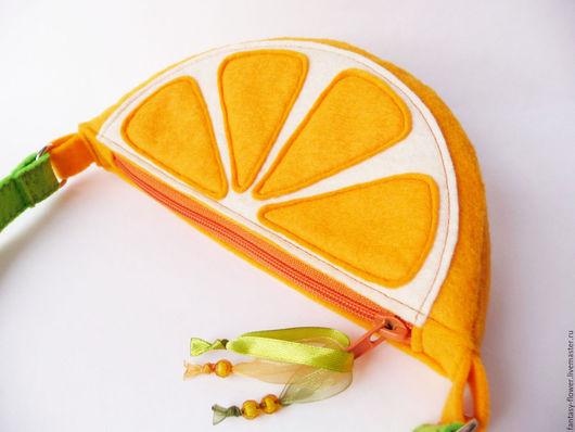 """Детские аксессуары ручной работы. Ярмарка Мастеров - ручная работа. Купить Сумочка """"Апельсин"""". Handmade. Оранжевый, сумочка из фетра"""