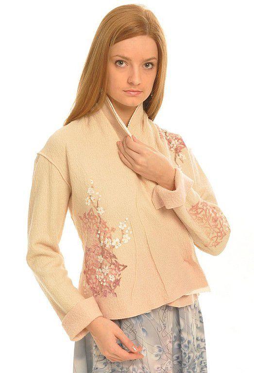 """Пиджаки, жакеты ручной работы. Ярмарка Мастеров - ручная работа. Купить Жакет """" Сакура"""". Handmade. Осенняя одежда, шерсть"""