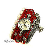 """Украшения ручной работы. Ярмарка Мастеров - ручная работа Часы женские,  """"Королевское время"""" часы на браслете, красные часы. Handmade."""