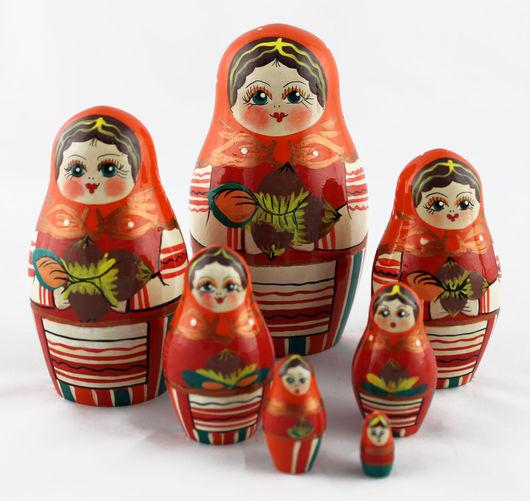 Матрешки ручной работы. Ярмарка Мастеров - ручная работа. Купить Орехи матрешка, расписанная деревянная кукла из 7 мест. Handmade.