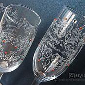 Свадебный салон handmade. Livemaster - original item Wine glasses engraved on the wedding. Handmade.
