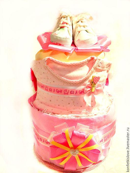 Подарки для новорожденных, ручной работы. Ярмарка Мастеров - ручная работа. Купить Торты из памперсов. Handmade. Торт из памперсов, подарок новорожденной