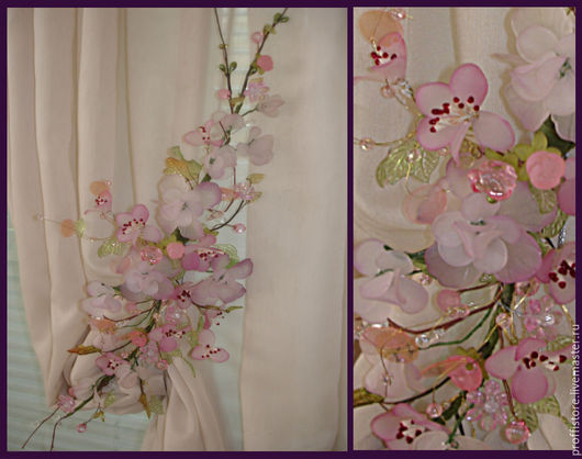 Текстиль, ковры ручной работы. Ярмарка Мастеров - ручная работа. Купить Подхват для штор магнитный ЛЕТО. Handmade. Розовый, подхваты