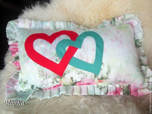 Текстиль, ковры ручной работы. Ярмарка Мастеров - ручная работа. Купить Подушка с сердечками. Handmade. Подушка декоративная