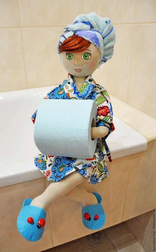 Ванная комната ручной работы. Ярмарка Мастеров - ручная работа. Купить Анюта, кукла - держатель для туалетной бумаги. Handmade. Синий