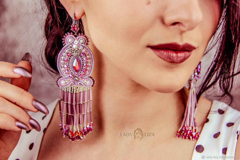 Earrings-brush: Margaret Pink Lilac Scarlet, Tassel earrings, Zelenokumsk,  Фото №1