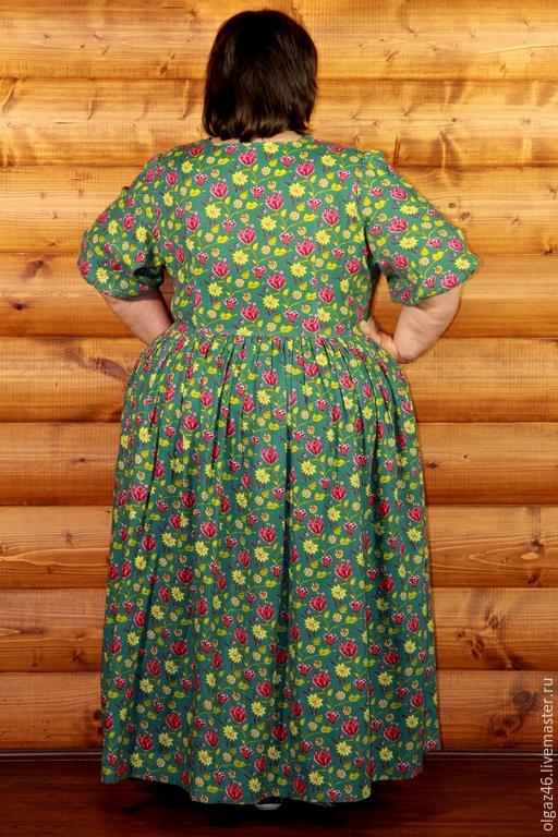 """Большие размеры ручной работы. Ярмарка Мастеров - ручная работа. Купить Платье большого размера длинное с рукавом по локоть """"Луг"""". Handmade."""