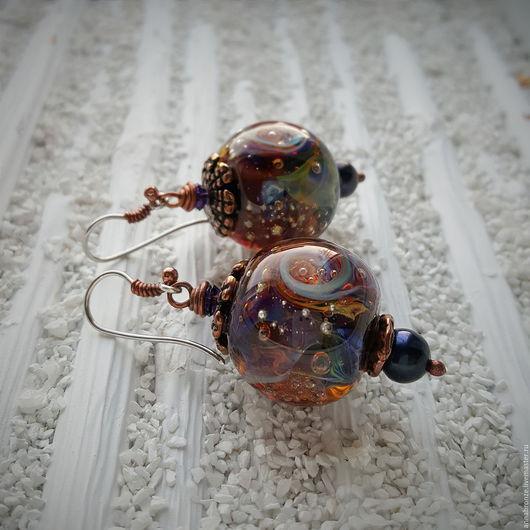 """Серьги ручной работы. Ярмарка Мастеров - ручная работа. Купить Серьги.""""Сочные ягодки"""".маленькие. Handmade. Тёмно-фиолетовый, серьги"""