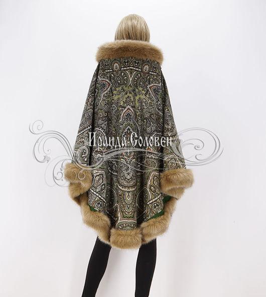 Авторское пальто-пончо из павловопосадских платков (100% шерсть)
