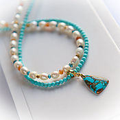 Работы для детей, handmade. Livemaster - original item Necklace with pearls and turquoise in gold. Handmade.