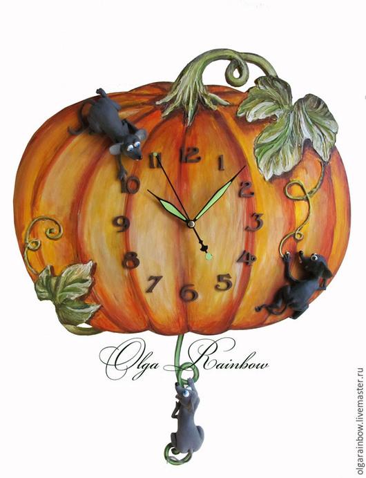"""Часы для дома ручной работы. Ярмарка Мастеров - ручная работа. Купить Часы с маятником """"Тыква с мышатами"""". Handmade. Оранжевый, мышки"""