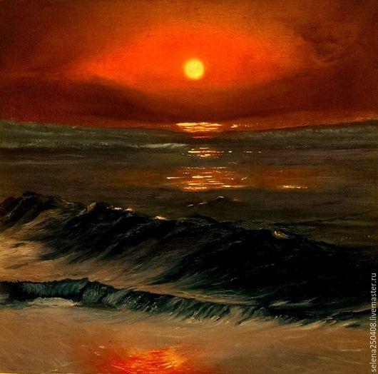 Пейзаж ручной работы. Ярмарка Мастеров - ручная работа. Купить Красная луна.. Handmade. Комбинированный, картина в подарок, картина для интерьера