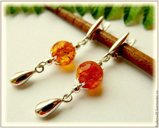 """Серьги ручной работы. Ярмарка Мастеров - ручная работа. Купить Серьги """"Мандаринчики"""" янтарь серебро. Handmade. Оранжевый, янтарь серьги"""