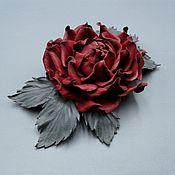 Украшения handmade. Livemaster - original item Brooch made of genuine leather EVANGELINA. Handmade.