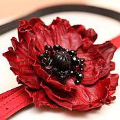 Аксессуары handmade. Livemaster - original item Strap with red poppy art. 35R51. Handmade.