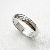 Свадебный салон handmade. Livemaster - original item Classic wedding ring with 5 silver stones (Ob10). Handmade.