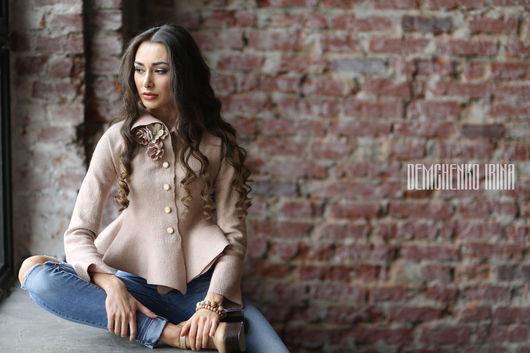 Блузки ручной работы. Ярмарка Мастеров - ручная работа. Купить Валяная блуза «Пудровые фиалки». Handmade. Бледно-розовый, ракушка
