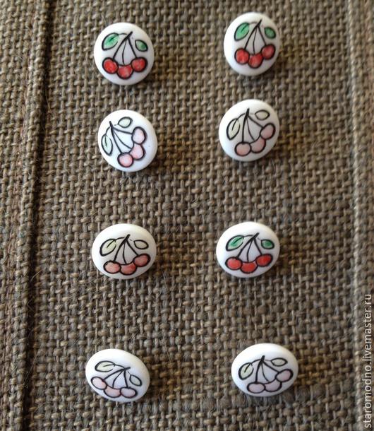 """Шитье ручной работы. Ярмарка Мастеров - ручная работа. Купить """"Три вишенки"""" винтажные пуговки, чешское стекло. Handmade."""
