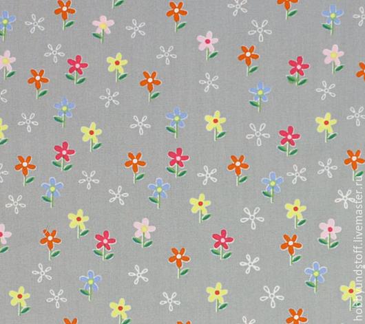 Шитье ручной работы. Ярмарка Мастеров - ручная работа. Купить Немецкий хлопок цветочки. Handmade. Серый, немецкий хлопок, ткань