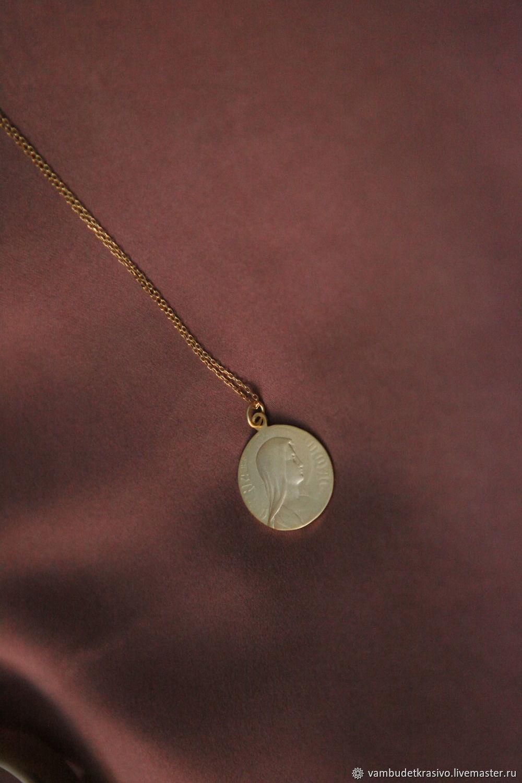 Подвеска монетка из серебра 925 с золочением, Подвеска, Москва,  Фото №1