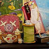 Картины и панно ручной работы. Ярмарка Мастеров - ручная работа картина маслом Чаепитие. Handmade.