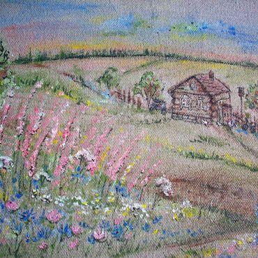 Картины и панно ручной работы. Ярмарка Мастеров - ручная работа Уеду в деревню к бабушке. Картина на льне. Handmade.
