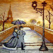 """Картины ручной работы. Ярмарка Мастеров - ручная работа Картина из шерсти """"Прогулка под дождем на мостовой"""". Handmade."""