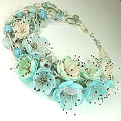 Украшения handmade. Livemaster - original item Waltz Mint Meadows. Necklace made of natural stones, fabric flowers. Handmade.