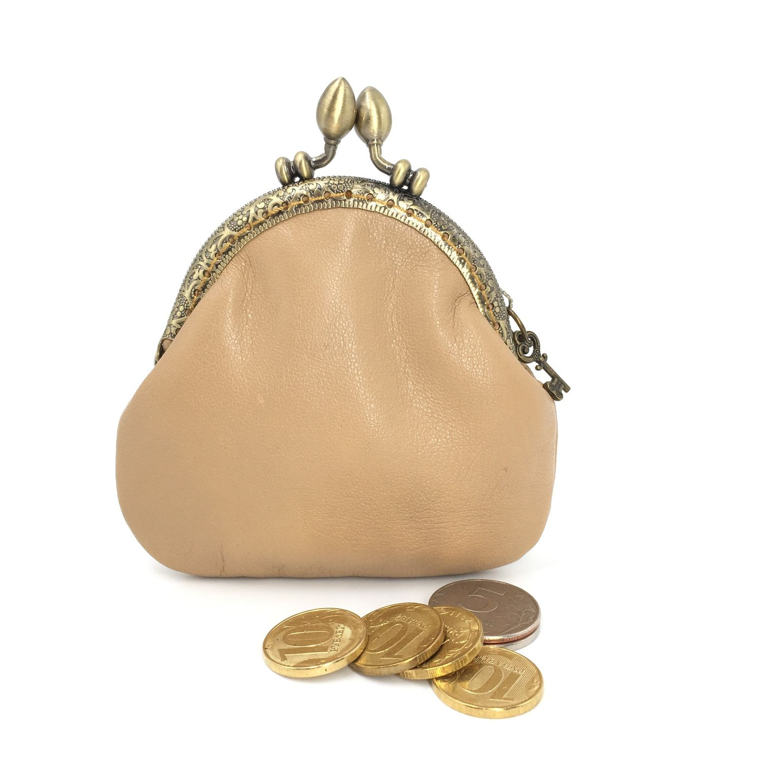 In stock! Purse-monetnitsa leather Cream on the clasp, Coin boxes, Moscow,  Фото №1