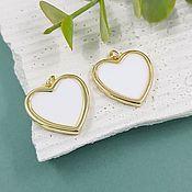 Материалы для творчества handmade. Livemaster - original item Heart Pendant 20 mm gilt, enamel (5647-Z). Handmade.