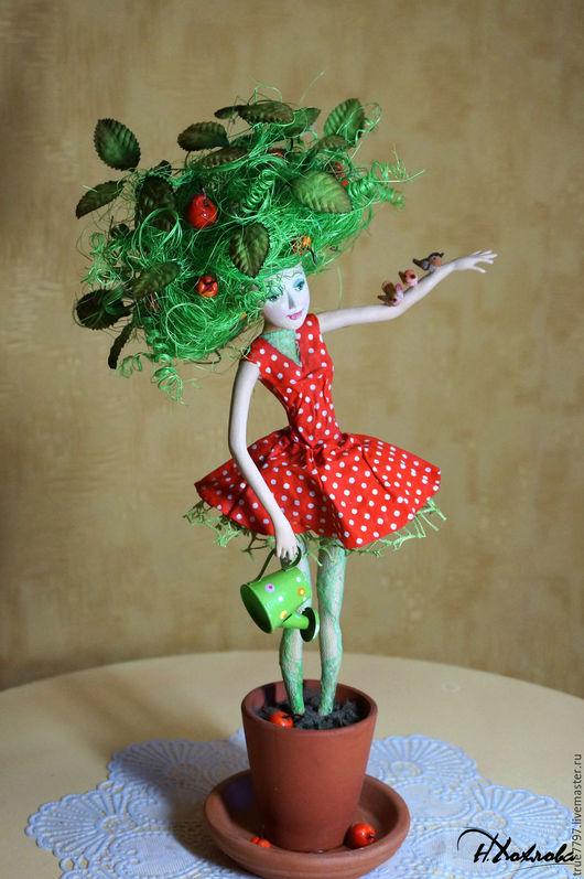 Коллекционные куклы ручной работы. Ярмарка Мастеров - ручная работа. Купить Яблонька  Дарья. Handmade. Ярко-зелёный, дизайнерское украшение