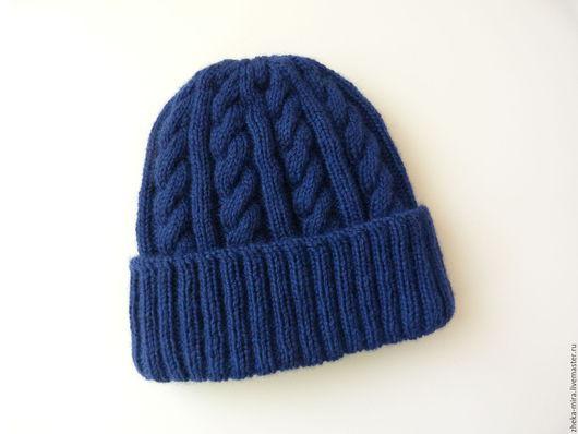 Шапки ручной работы. Ярмарка Мастеров - ручная работа. Купить шапка мужская зимняя №1. Handmade. Тёмно-синий