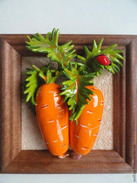 """Картины цветов ручной работы. Ярмарка Мастеров - ручная работа. Купить """"Морковка""""- панно, полимерная глина, картина. Handmade."""