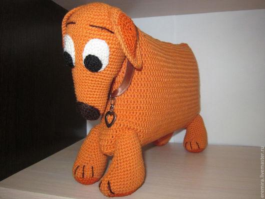 """Игрушки животные, ручной работы. Ярмарка Мастеров - ручная работа. Купить Подушка-игрушка """"Такса"""". Handmade. Оранжевый, подарок ребенку"""