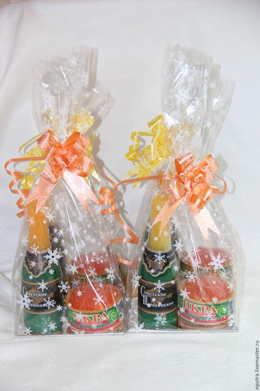 Персональные подарки ручной работы. Ярмарка Мастеров - ручная работа. Купить набор мыло ручной работы бутылка шампанского + банка икры. Handmade.