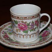 Винтаж handmade. Livemaster - original item Vintage coffee steam expresso coffee with flowers, China, 1970.. Handmade.