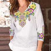 Одежда ручной работы. Ярмарка Мастеров - ручная работа Блузка вышитая (вышитый набор для пошива  блузки). Handmade.