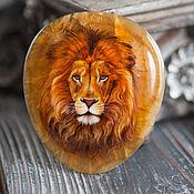 "Украшения handmade. Livemaster - original item Lacquer miniature ""Lion"" painted stone brown orange cat. Handmade."