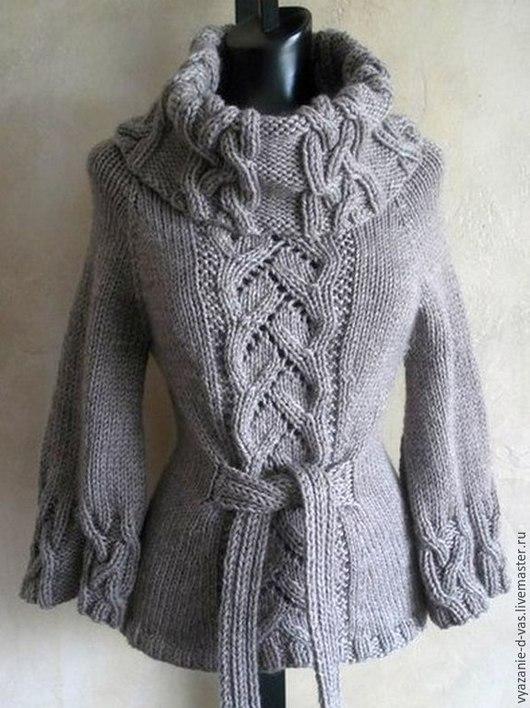 Кофты и свитера ручной работы. Ярмарка Мастеров - ручная работа. Купить Свитер женский вязаный теплый зимний с косами. Handmade.