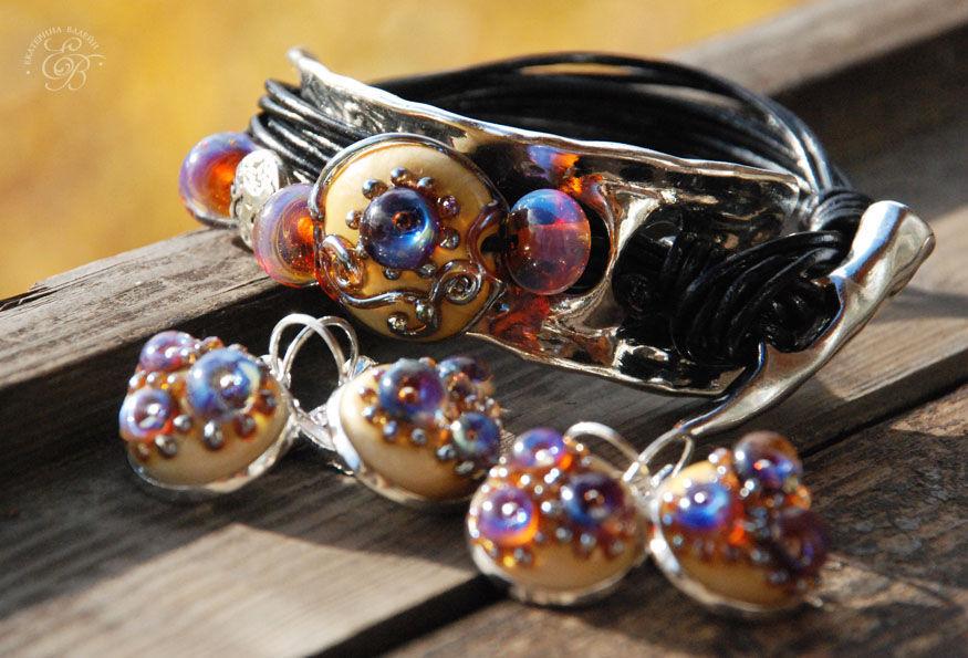 'Artifact' bracelet and earrings lampwork, Bead bracelet, St. Petersburg,  Фото №1