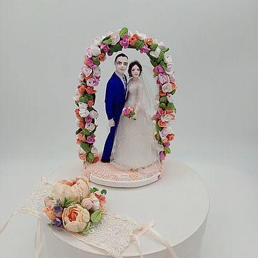 Свадебный салон ручной работы. Ярмарка Мастеров - ручная работа Фигурки на свадебный торт Персиковая свадьба. Handmade.