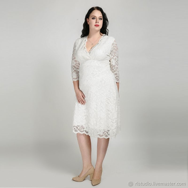 871324ae6cc Plus Size White Lace Wedding Dress – shop online on Livemaster with ...