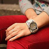 ручной работы. Ярмарка Мастеров - ручная работа Часы наручные на широком браслете Aviator White. Handmade.