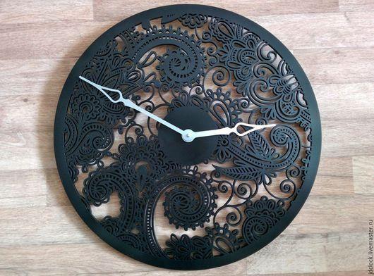 """Часы для дома ручной работы. Ярмарка Мастеров - ручная работа. Купить Настенные часы """"Пейсли"""". Handmade. Черный, ажур"""