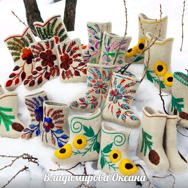 Children's boots with embroidery 'Ryabinka', embroidery with a smooth surface, Felt boots, Cheboksary,  Фото №1
