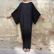 Одежда ручной работы. Ярмарка Мастеров - ручная работа Черное элегантное длинное макси платье, кафтан, абайя. Handmade.