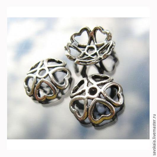 Шапочки для бусин 10.0мм x 10.0мм античное серебро Сердце, для бусин 12мм-14мм
