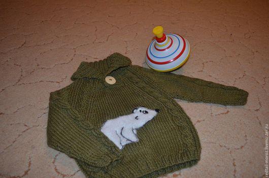 """Кофты и свитера ручной работы. Ярмарка Мастеров - ручная работа. Купить Детский свитерок """"Умка"""". Handmade. Хаки, апликация, умка"""
